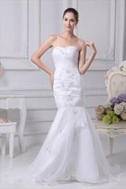 Trumpet Mermaid Organza Wedding Dress, Long Evening Mermaid Dresses