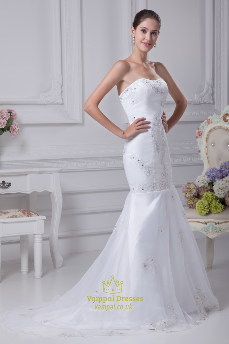 Trumpet mermaid organza wedding dress long evening for Tulle trumpet wedding dress