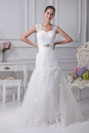 Mermaid Wedding Dress With Cap Sleeves, Pleated Mermaid Wedding Dress