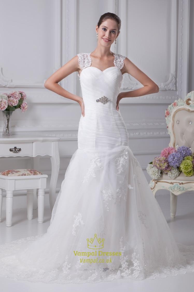 Mermaid Wedding Dress With Cap Sleeves, Pleated Mermaid Wedding ...