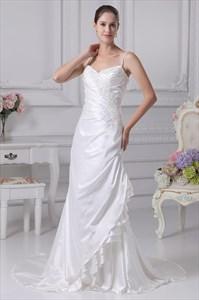 White Taffeta Wedding Dress, Spaghetti Strap Mermaid Wedding Dresses