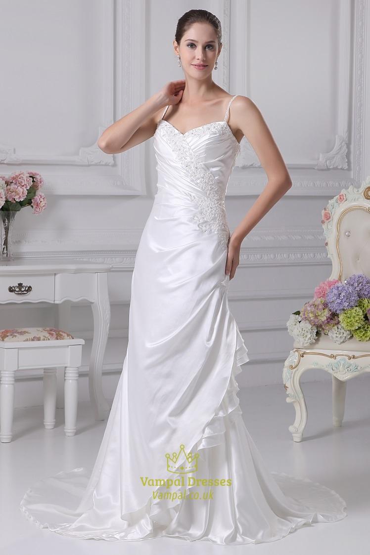 White taffeta wedding dress spaghetti strap mermaid for Spaghetti strap wedding dress