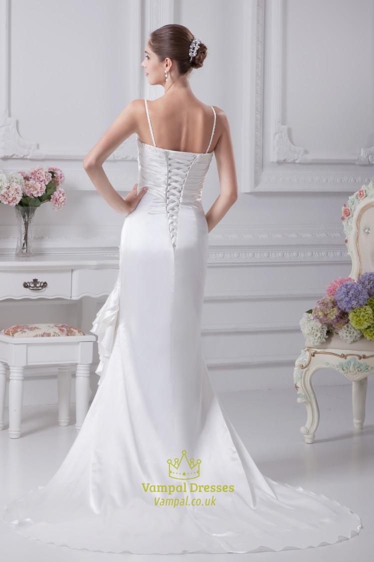 White taffeta wedding dress spaghetti strap mermaid for Taffeta mermaid wedding dress