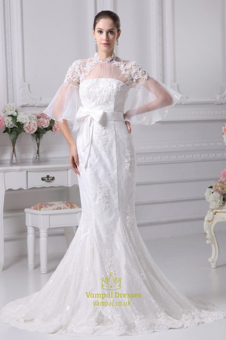 Lace mermaid wedding dress long sleeves mermaid trumpet for Lace sleeve wedding dresses
