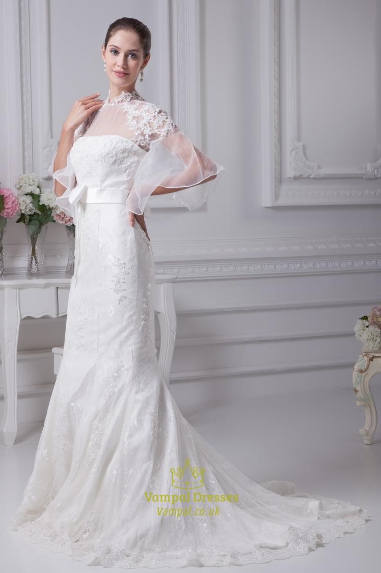 Lace mermaid wedding dress long sleeves mermaid trumpet for Trumpet mermaid wedding dress with sleeves