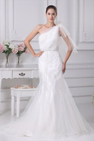 White One Shoulder Mermaid Trumpet Wedding Dress, Mermaid Wedding Gown