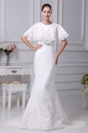 White Satin Mermaid Wedding Dress, Winter Wedding Dresses With Cloak
