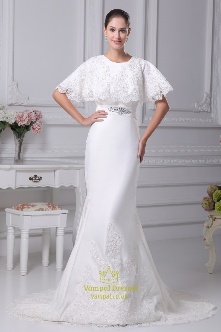 Winter Wedding Dress.White Satin Mermaid Wedding Dress Winter Wedding Dresses With Cloak