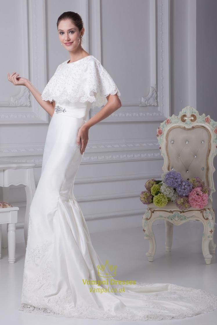 White Satin Mermaid Wedding Dress, Winter Wedding Dresses With Cloak ...