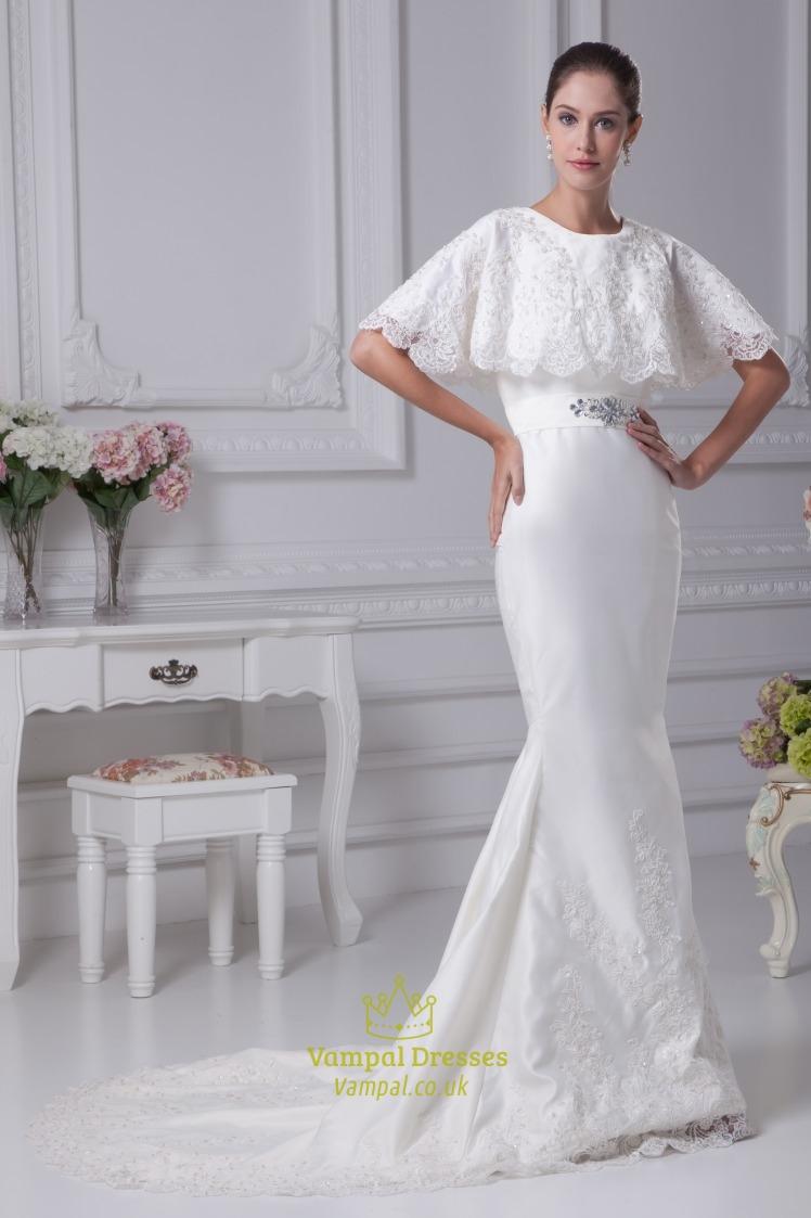 White satin mermaid wedding dress winter wedding dresses for White silk wedding dress