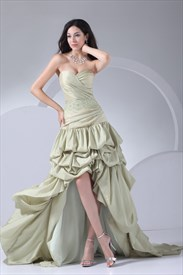 High Low Prom Dresses For Plus Size, Mint Green Evening Dresses
