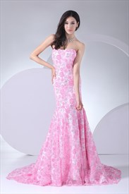 Pink Wedding Dress With Long Train, Pink Floral Mermaid Prom Dress