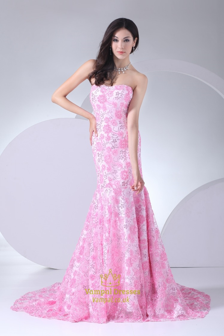 Pink Wedding Dress With Long Train Pink Floral Mermaid Prom Dress