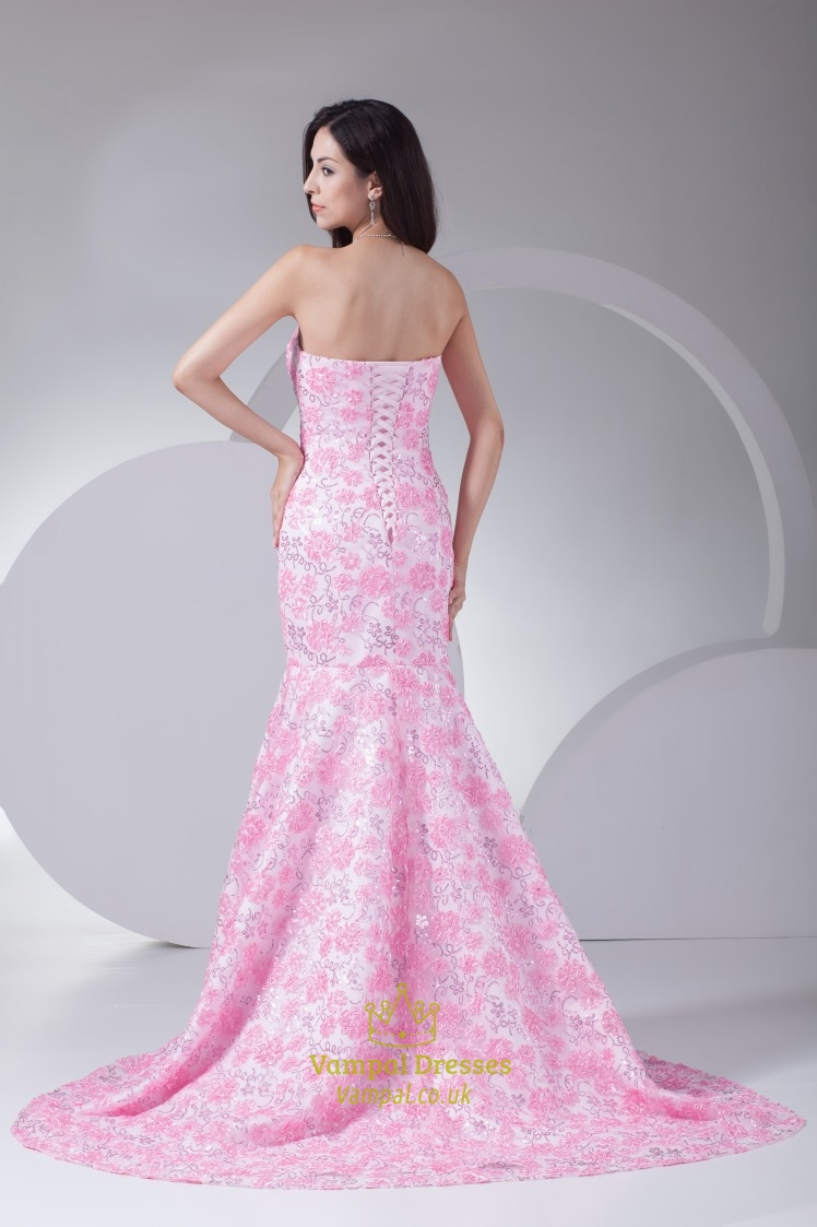 Pink Wedding Dress With Long Train, Pink Floral Mermaid Prom Dress ...