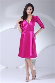 Long Sleeve Deep V Neck Dress, Hot Pink Homecoming Dresses Short