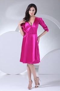 Long Sleeve Deep V Neck Dress, Hot Pink Homecoming Dresses Short