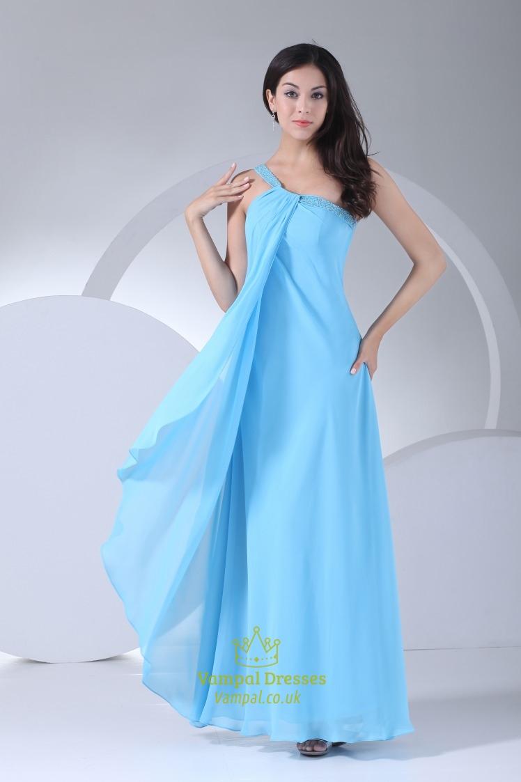 Blue one shoulder chiffon dress blue one shoulder for One shoulder wedding dress