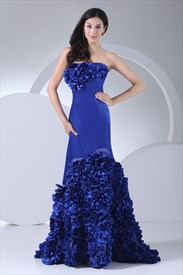 Royal Blue Prom Dresses With Flowers On Bottom,Royal Blue Prom Dresses Under 200