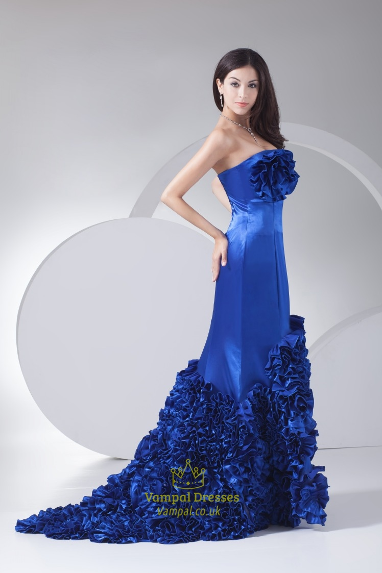 Royal Blue Prom Dresses With Flowers On Bottomroyal Blue Prom