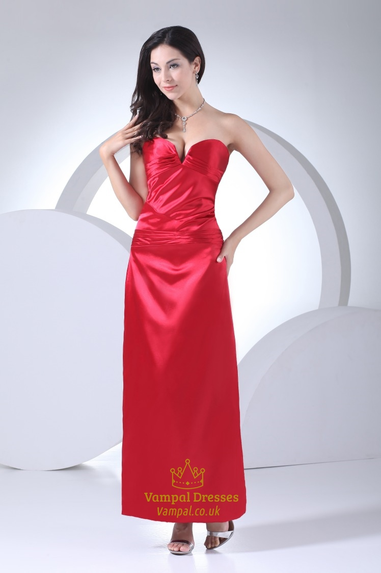 Red Prom Dresses Sweetheart Neckline,Red Strapless Dress With ...