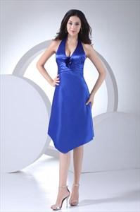 Royal Blue Halter Prom Dress UK 2021,Royal Blue Halter Neck Dress