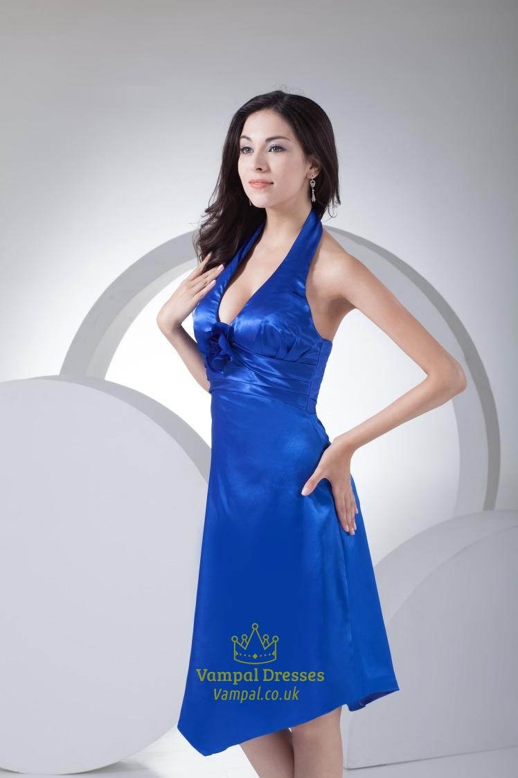 Royal Blue Halter Prom Dress UK 2019,Royal Blue Halter
