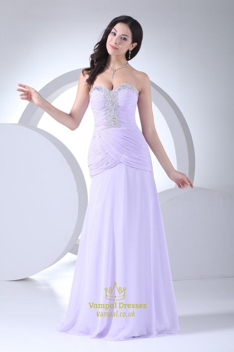 Elegant Lilac Strapless Sweetheart Evening Dress Vampal