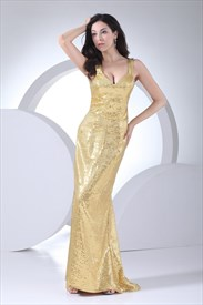 Gold Sequin Mermaid Prom Dress, Floor Length Sequin Prom Dresses