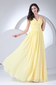 Yellow Chiffon Mother Of The Bride Dress,Long Chiffon Bridesmaid Dress