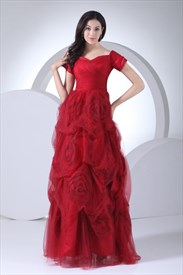 Red Off The Shoulder Prom Dress,Floor Length Prom Dresses With Sleeves