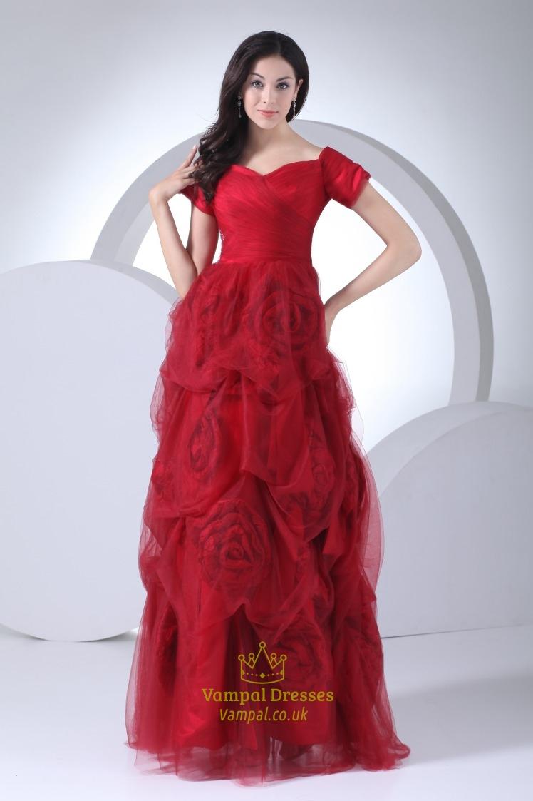Red Off The Shoulder Prom Dress Floor Length Prom Dresses
