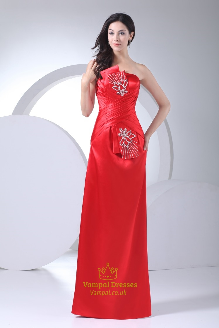 A-Line Strapless Floor Length Satin Prom Dress,Red Strapless Prom ...