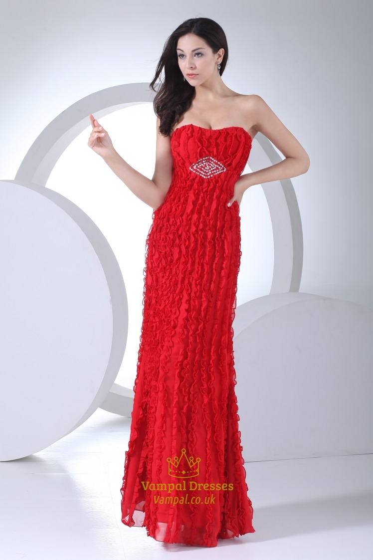Long Red Chiffon Prom Dress, Strapless Ruffle Floor Length Gown ...