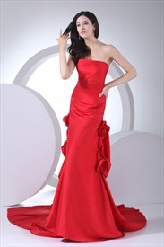 Red Taffeta Corsage Prom Dress, Red Strapless Mermaid Prom Dresses