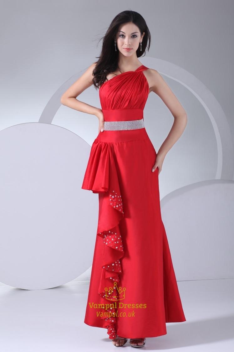 400fde572a3 Red One Shoulder Prom Dress 2019, Floor Length Empire Waist Prom Dress