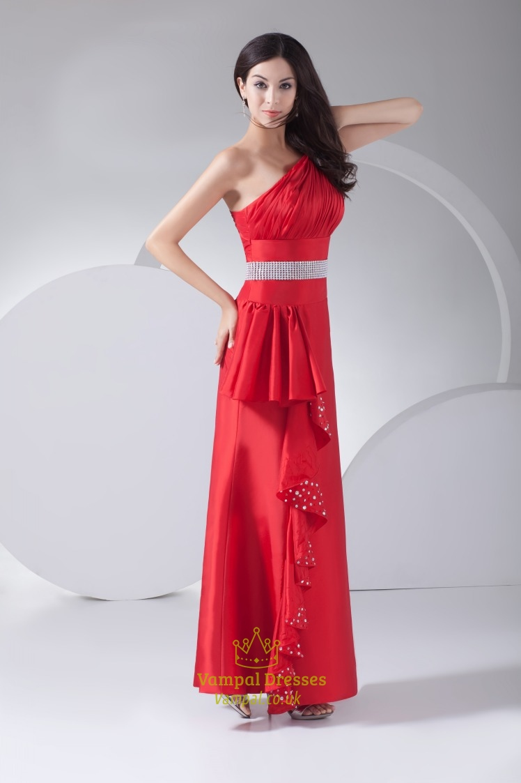 red one shoulder prom dress 2016 floor length empire