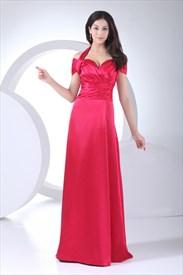 Off The Shoulder Floor Length Dress, Long Halter Prom Dresses 2019