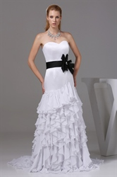 Ruffled Chiffon Wedding Dress, White Wedding Dresses With Black Sash