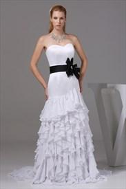 Ruffled Chiffon Wedding Dress, White Wedding Dresses With Black Sash
