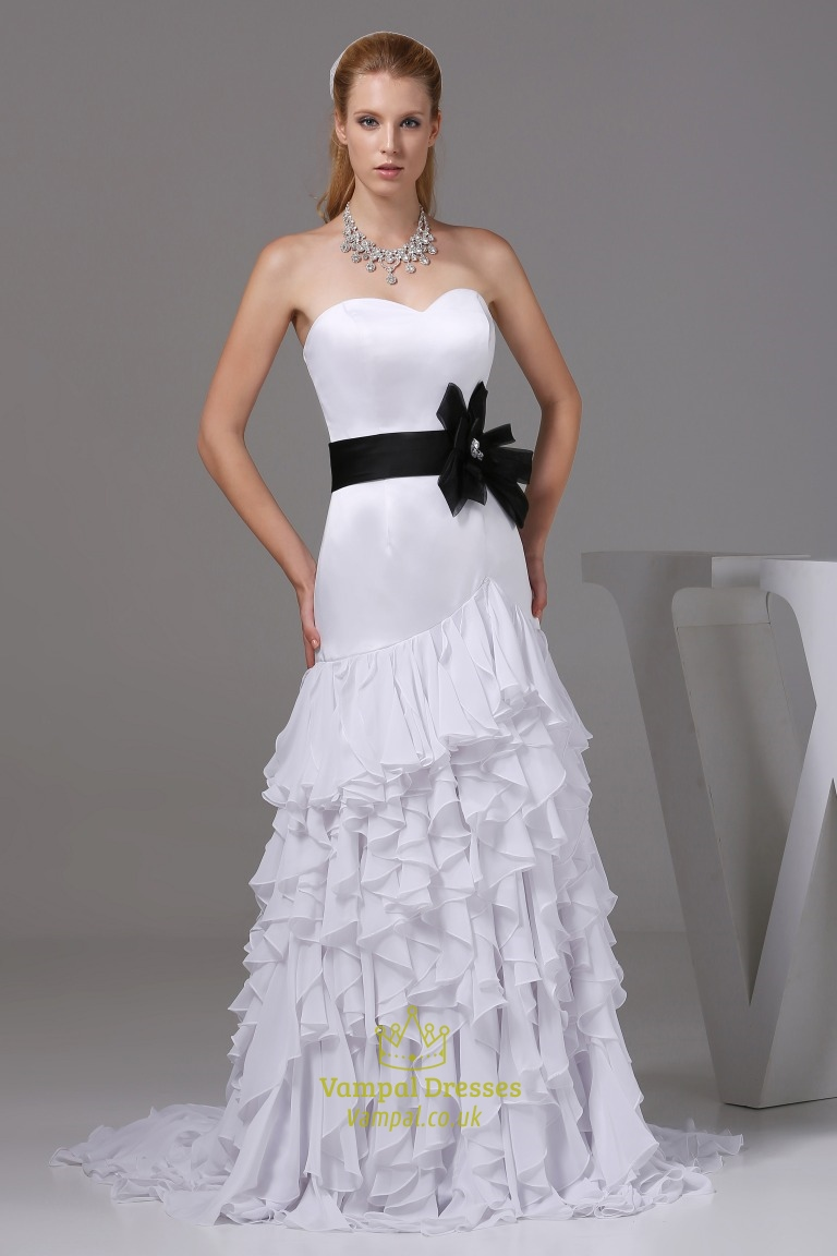 Ruffled Chiffon Wedding Dress White Wedding Dresses With Black Sash