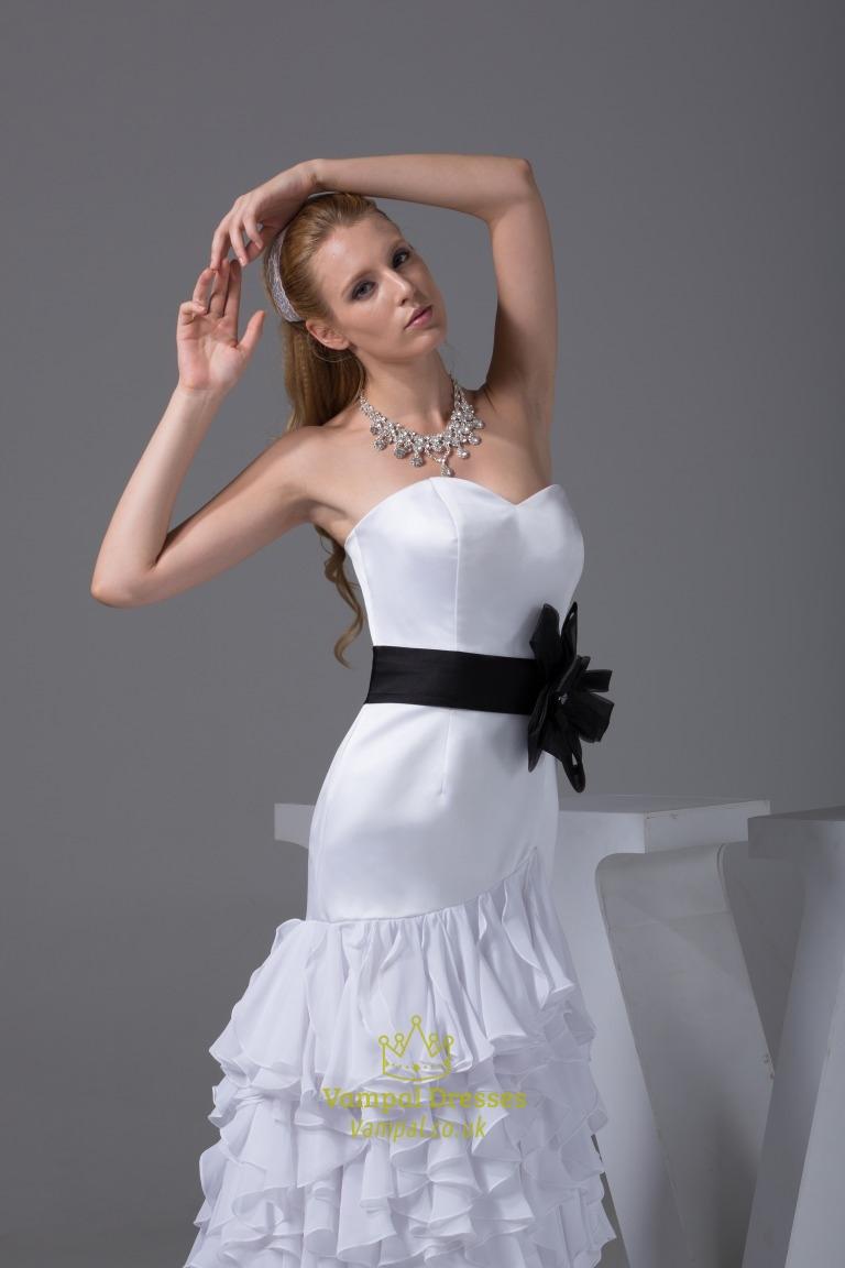 Ruffled Chiffon Wedding Dress White Wedding Dresses With