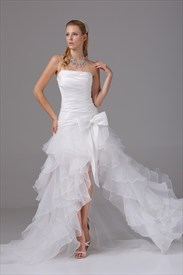 Organza Ruffle Wedding Dress, Wedding Dresses With Slits Up The Leg