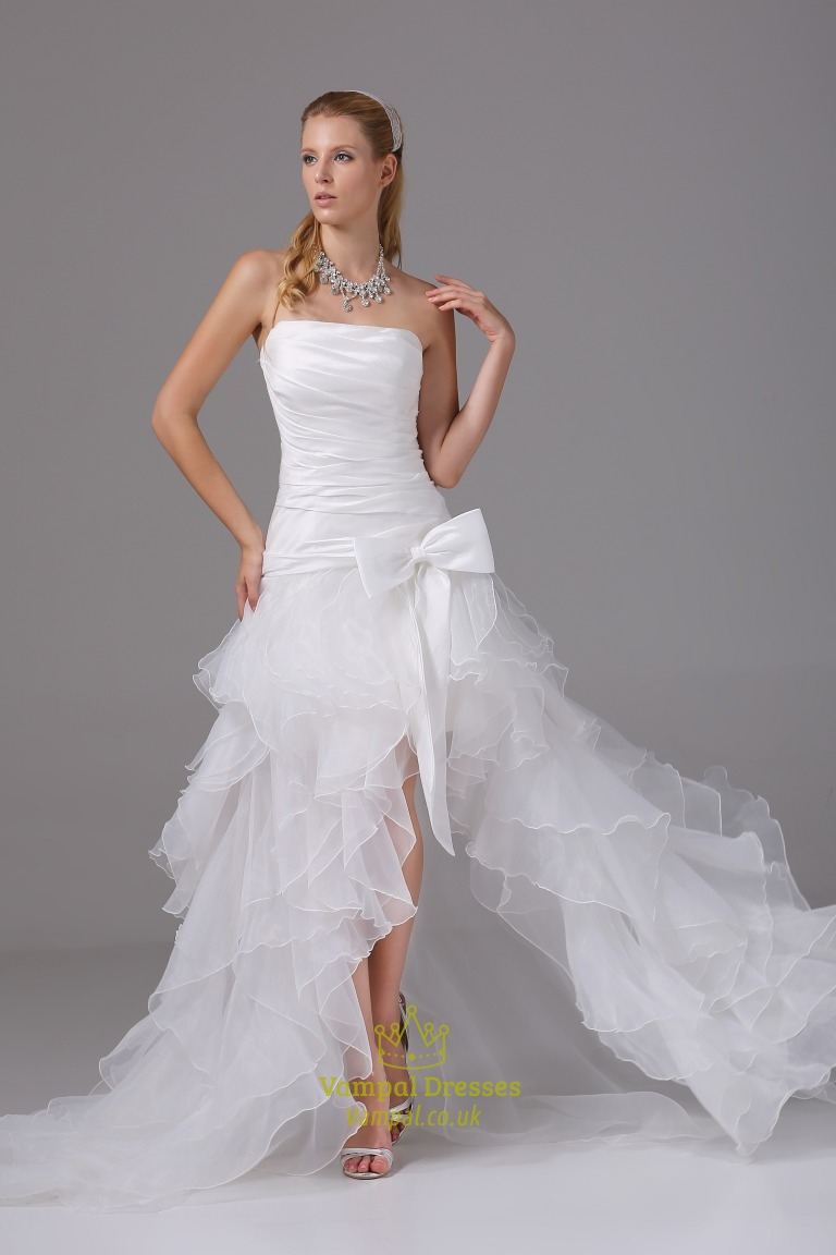 Organza Ruffle Wedding Dress, Wedding Dresses With Slits Up The Leg ...