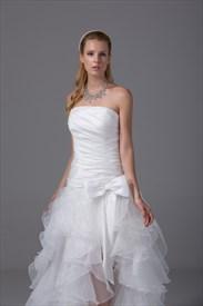 Ruffled Chiffon Wedding Dress White Wedding Dresses With Black Sash