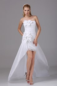 Short High Low Homecoming Dresses, White High Low Wedding Dresses
