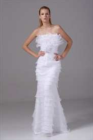 Ruffled Organza Wedding Dress, Strapless Mermaid Organza Wedding Dress