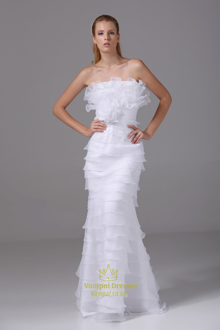 ruffled organza wedding dress strapless mermaid organza