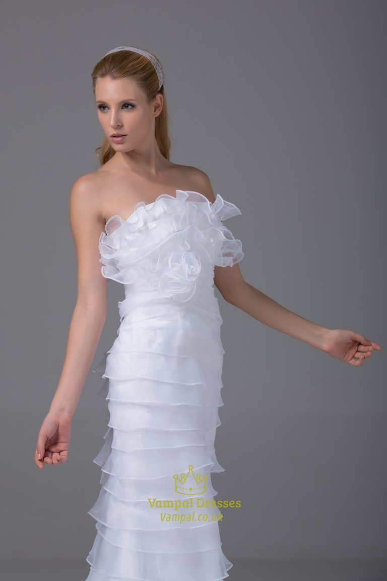 Ruffled Organza Skirt With Embroidered And Beaded Bodice: Ruffled Organza Wedding Dress, Strapless Mermaid Organza