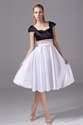 White And Black Homecoming Dresses, Cocktail Dresses With Cap Sleeves