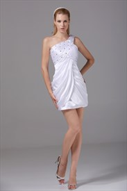 Short One Shoulder Homecoming Dress, White One Shoulder Cocktail Dress